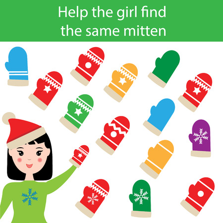 developmental: Find the same pictures children educational game. Find equal mittens task for kids. Winter theme Illustration