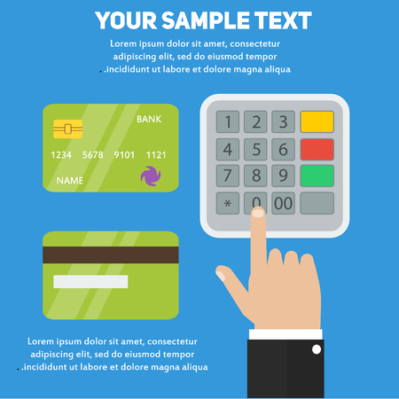 pin code: Human hand entering pin code in ATM or payment terminal with bank credit cards. Concept vector banking illustration for business