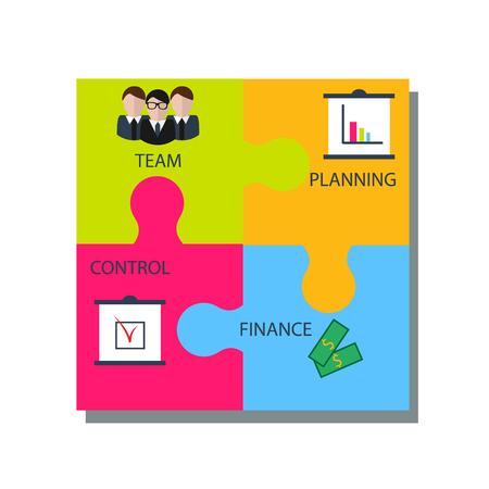 command structure: Business puzzle concept illustration. Four puzzle pieces with management elements, infographics design, isolated elements