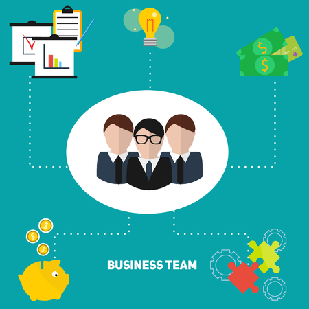 command structure: Business team concept vector illustration. Infographics design template for reports, presentations and other business Illustration