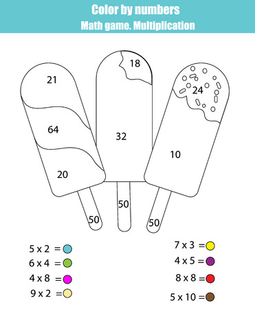 school years: Coloring page with ice cream. Color by numbers math counting children educational game. For school years kids. Learning mathematics, algebra, multiplication