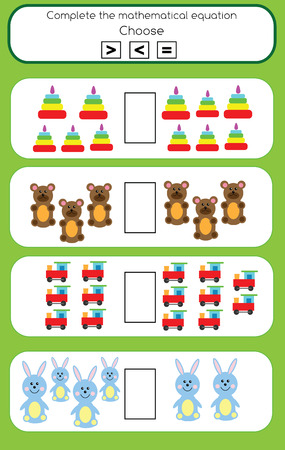 less: Mathematics educational game for children. Learning counting and algebra kids activity. Complete the mathematical equation task, choose more, less or equal Illustration