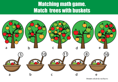 addition: Counting educational children game, kids activity. Mathematics counting matching game. Learning numbers, addition theme