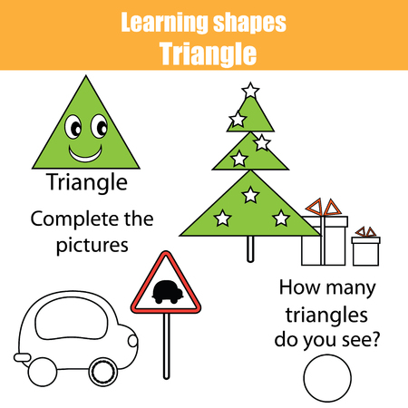 Educational children game, kids activity. Learning geometry shapes. Triangle