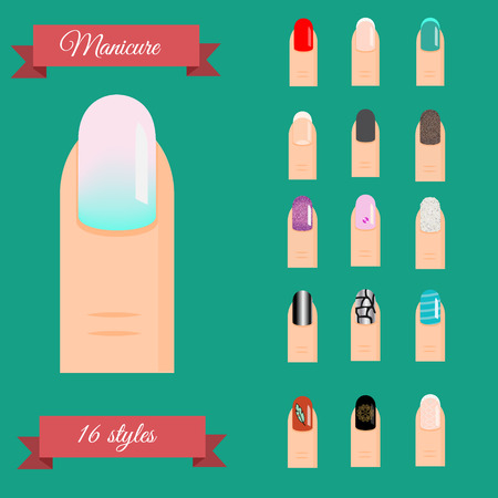 nail art: Manicure types. Nail design, nail art vector set. Illustration of trendy manicure styles gradient, french, glittering polish and other popular models