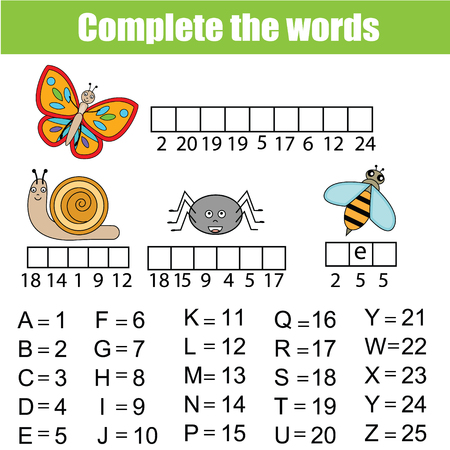 cipher: Complete the words using cipher code. Children educational game. Learning insects animals theme, vocabulary and numbers