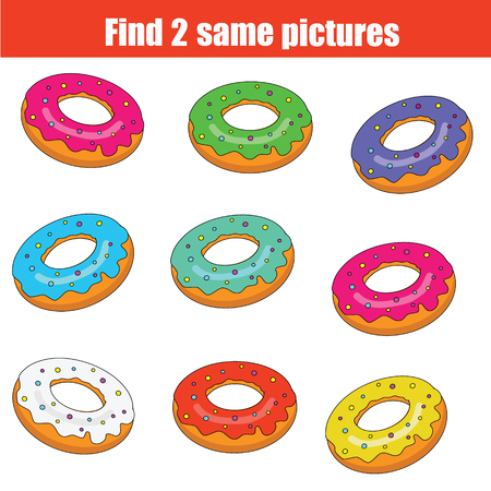 pairs: Find the same pictures children educational game. Find equal pairs of donuts kids activity