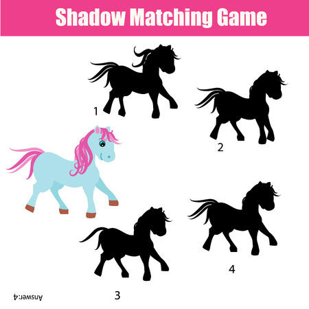 developmental: Shadow matching game for children. Find the right, correct shadow for cute pony task for kids preschool and school age. Printable worksheet, animals theme Illustration