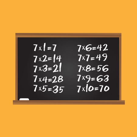 developmental: Multiplication table. Number seven row on school chalk board. Children educational vector illustration Illustration