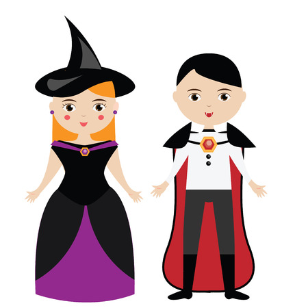 carnival girl: Cartoon witch and vampire characters. Boy and girl in carnival halloween costumes. Vector illustration Illustration