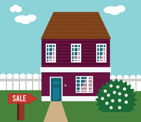 yard sign: Real estate on sale. House, cottage, townhouse, mansion vector illustration with sale sign in yard