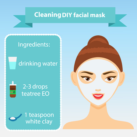 clay mask: Young woman with facial mask. Vector illustration of recipe of cleaning clay mask for oily skin. Beauty infographics