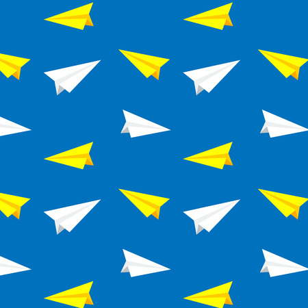 yellow paper: Flying white and yellow paper planes. Vector pattern, background