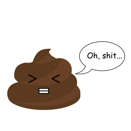 jest: Cute vector poop with comic bubble. Turd emoticons, design element, icon. Vector illustration