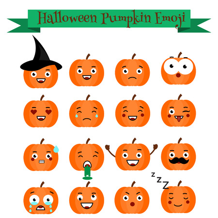 samhain: Cute vector halloween pumpkin with phrases emoji set. Emoticons, stickers, isolated design elements, icons for mobile applications, social networks, chat and other business