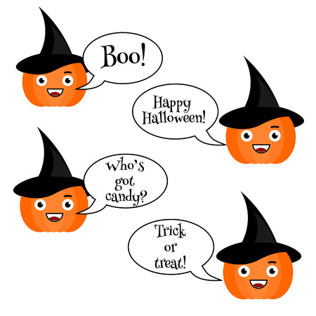 phrases: Cute vector halloween pumpkin with phrases emoji set. Emoticons, stickers, isolated design elements, icons for mobile applications, social networks, chat and other business