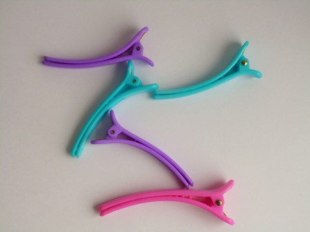 barrettes: Colorful plastic hair barrettes. Violet, blue, pink hair pins