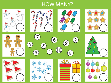 Counting educational children game, kids activity worksheet. How many objects task, christmas theme. Learning mathematics, numbers, addition theme Vectores