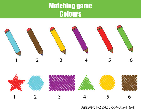 Educational children game. Matching game worksheet for kids. Learning colors and shapes theme
