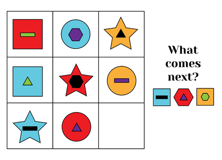 What comes next educational children game. Kids activity sheet, training logic, continue the row task. Learning shapes and colors Иллюстрация