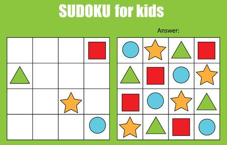 数独の写真と子供のためのゲーム。子供のアクティビティ シート。トレーニング ロジック、教育的なゲーム  イラスト・ベクター素材