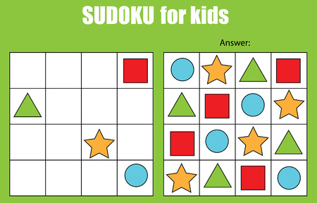 Sudoku game for children with pictures. Kids activity sheet. Training logic, educational game