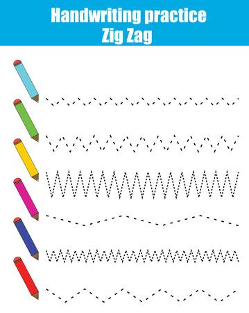 zig zag: Handwriting practice sheet. Educational children game, restore the dashed line. Writing training printable worksheet with zig zag Illustration