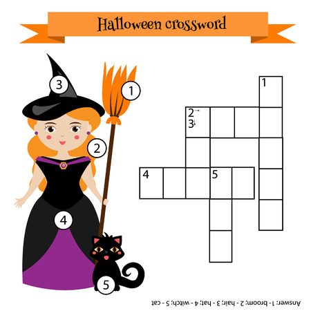 Crossword educational children game with answer. Learning vocabulary. illustration, printable worksheet with witch character. Halloween theme Illustration
