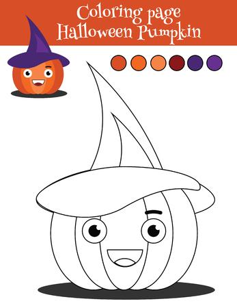 Dibujo Para Colorear Para Niños Con Traje De Bruja Halloween. Dibujo ...