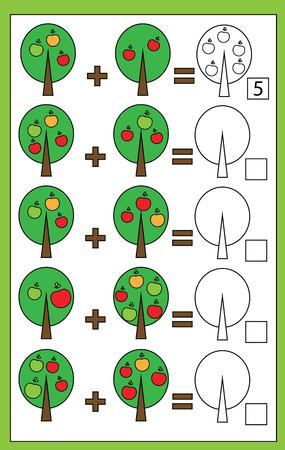 Juego Educativo Matemático Para Niños. Aprendizaje De La Hoja De ...