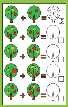 addition: Mathematics educational game for children. Learning counting, addition worksheet for kids Illustration