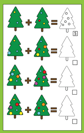 addition: Mathematics educational game for children. Learning counting, addition worksheet for kids, christmas theme