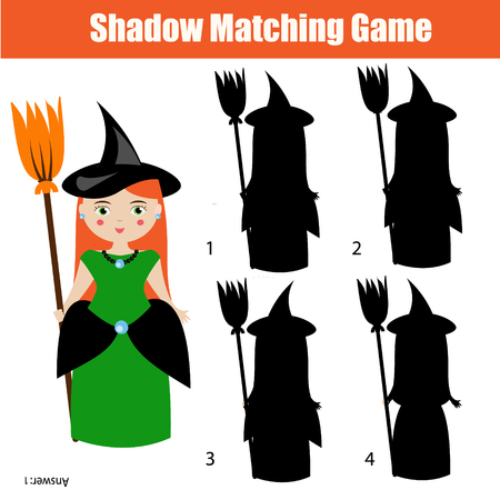 developmental: Shadow matching game for children. Find the right, correct shadow task for kids preschool and school age. halloween theme with witch character Illustration