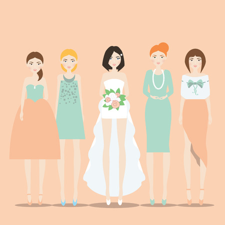 fiancee: Fiancee, bride in the dress with train and her bridesmaids. illustration in flat style and soft colors for invitations, greeting wedding cards, bridal shower and hen parties