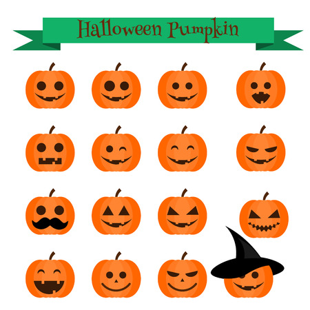 samhain: Cute halloween pumpkin emoji icons set. Emoticons, stickers, isolated design elements, icons for mobile applications, social media, chat and other business