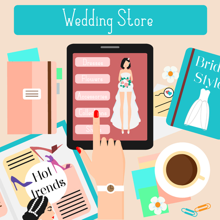 touch pad: Wedding store concept flat illustration. Woman shopping in online fashionable shop with touch pad. Advertisement for web bridal stores, shops, social media, e-commerce