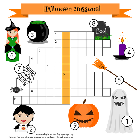 Crossword educational children game with answer. Learning vocabulary. illustration, printable worksheet. Halloween theme