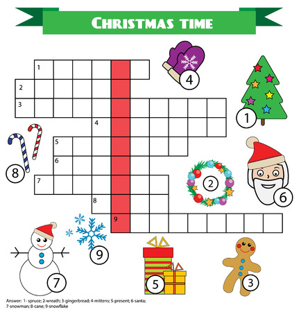 Kreuzworträtsel Kinderspiel mit Antwort. Vokabeln lernen Druckbares Arbeitsblatt. Weihnachten, Neujahr Winter Urlaub Thema Vektorgrafik