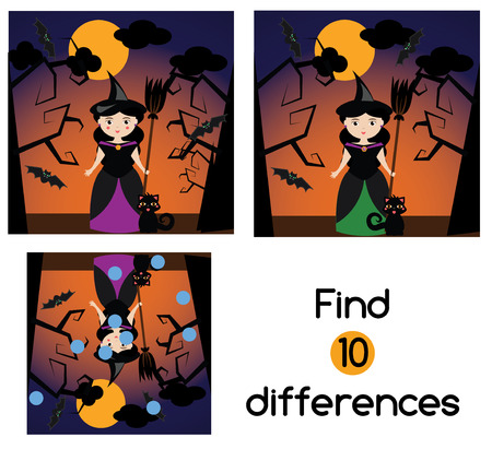 developmental: Find the differences educational children game with answer. Kids activity sheet with halloween witch character Illustration