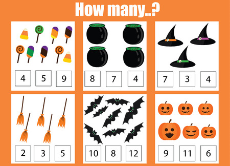 addition: Counting educational children game, kids activity worksheet. How many objects task. Learning mathematics, numbers, addition worksheet. Halloween theme