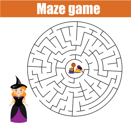 developmental: Maze children game: help the halloween girl go through the labyrinth and find candy. Printable worksheet