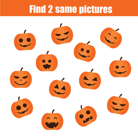 pairs: Find the same pictures children educational game. Find equal pairs of halloween pumpkins kids activity