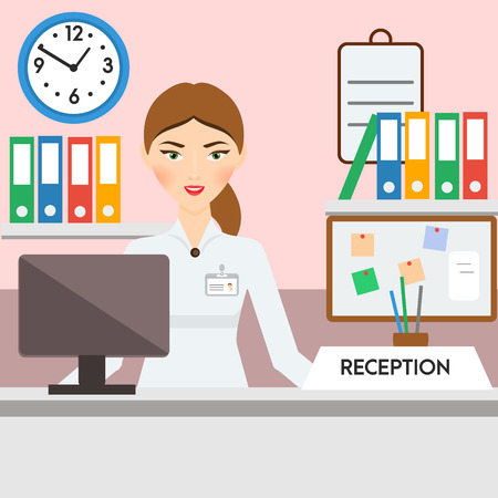 hotel manager: Receptionist, administrator, manager woman. Friendly smiling girl on hotel or other reception. illustration Illustration