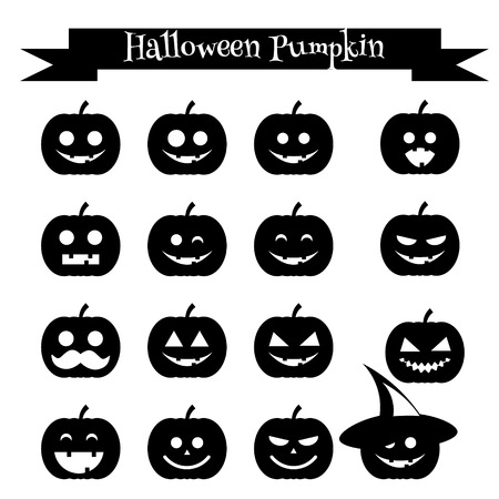 samhain: Isolated black silhouettes of halloween pumpkin. Emoji icons set. Emoticons, stickers, isolated design elements, icons for mobile applications, social media, chat and other business.