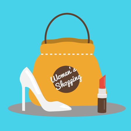 Womens shopping concept illustration with pump shoes, bag and lipstick. Flat style , background for social media, fashion shops and stores Vectores