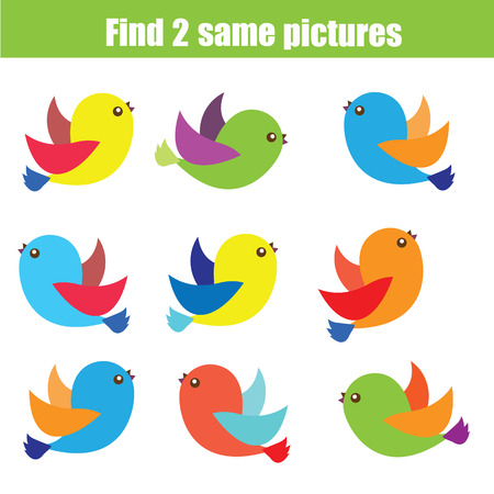 pairs: Find the same pictures children educational game. Find equal pairs of birds kids activity