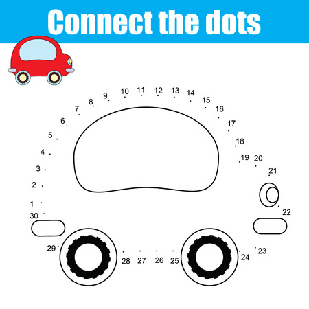 school age: Connect the dots children educational drawing game . Dot to dot by numbers game for kids. Transport theme for pre school age. Printable worksheet activity