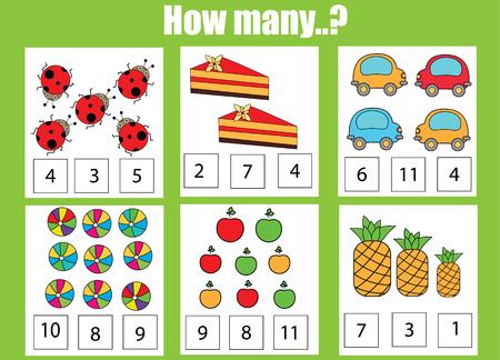 Contando juego educativo de los niños, la actividad de los niños de hoja de cálculo. ¿Cuántas tareas objetos. aprendizaje de las matemáticas, números, además el tema