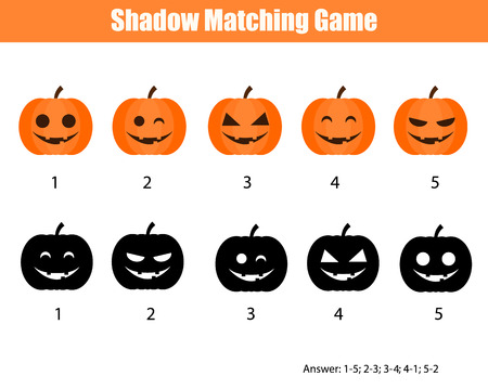 Shadow matching game for children. Find the right, correct shadow task for kids preschool and school age. halloween theme with pumpkins