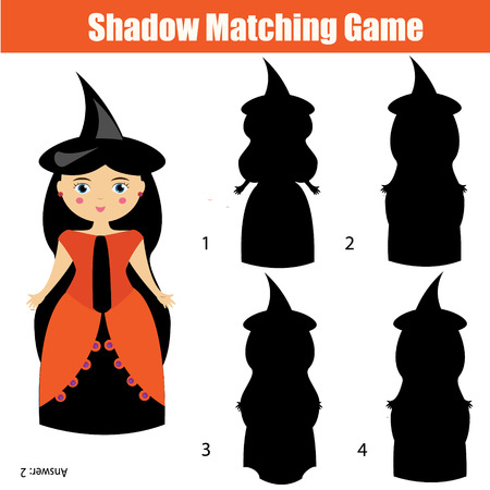 school age: Shadow matching game for children. Find the right, correct shadow task for kids preschool and school age. halloween theme with witch character Illustration